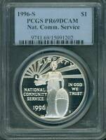 1996-S NATIONAL COMMUNITY SERVICE NCS SILVER PCGS PR69 PF69