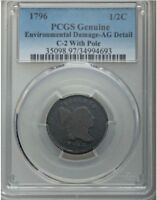 1796 HALF CENT C-2 WITH POLE  PCGS  AG DETAIL