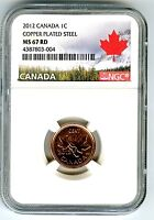 2012 CANADA CENT NGC MS67 MAGNETIC STEEL HIGH GRADE LAST YEA