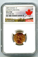 2009 CANADA CENT NGC MS67 RD COPPER PLATED MAGNETIC STEEL HI