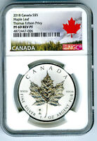 2018 $5 CANADA 1OZ SILVER MAPLE LEAF EDISON LIGHT BULB PRIVY