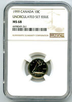 1999 CANADA 10 CENT DIME NGC MS68 LY  TOP POP ONLY 1 KNOWN T