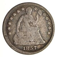 5C    1/2 DIME     1857 SEATED LIBERTY HALF DIME   EARLY AME
