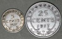 CANADA   NEWFOUNDLAND 1917 C 25 CENTS AND 1941 C 5 CENTS LOT