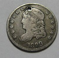 1829 CAPPED BUST HALF DIME   FINE DETAIL / HOLED   3SU