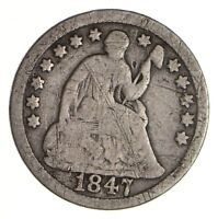 5C    1/2 DIME     1847 SEATED LIBERTY HALF DIME   EARLY AME
