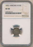 1853 ARROWS SEATED HALF DIME, NGC EXTRA FINE 45