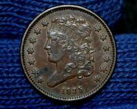 1835 HALF CENT AU  BROWN