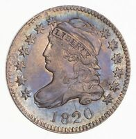 1820 CAPPED BUST DIME - RAINBOW TONED 2504