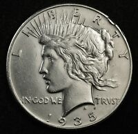 1935-P PEACE SILVER DOLLAR.   A.U. DETAIL.  133705