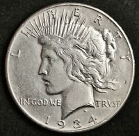 1934-S PEACE SILVER DOLLAR.   A.U. DETAIL.  133703