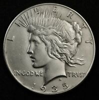 1935-P PEACE SILVER DOLLAR.   A.U. DETAIL.  133706
