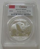 2016 CHINA PANDA PCGS MINT STATE 69 RED FLAG LABEL 1 OZ SILVER 10 YUAN COIN