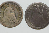 1 1854-P AND 1 1855-P LIBERTY SEATED HALF DIMES THAT GRADED GOOD NUM3789
