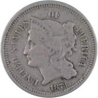 1873 CLOSED 3 3C NICKEL THREE CENT PIECE COIN AVERAGE CIRCULATED