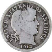 1912 D BARBER DIME 90  SILVER 10C US TYPE COIN COLLECTIBLE