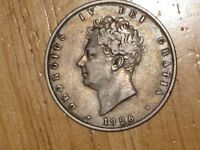 GB ENGLAND 1826 SILVER 1/2 CROWN COIN FINE NICE GEORGE IV