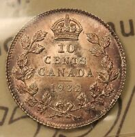 1932 CANADA SILVER 10 CENTS MS 64 ICCS NEAR GEM UNCIRCULATED TONED. BV $425