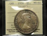 1959 CANADA SILVER DOLLAR ICCS MS 64. DEEPLY TONED BOTH SIDES. BV $125