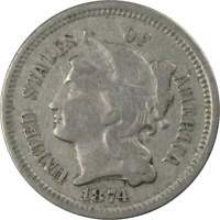 1874 THREE CENT PIECE NICKEL 3C US TYPE COIN COLLECTIBLE