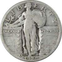 1929 D STANDING LIBERTY QUARTER AG ABOUT GOOD 90  SILVER 25C US TYPE COIN