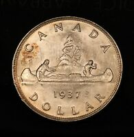 1937 CANADA SILVER DOLLAR. MS 64 UNCIRCULATED. GREAT LUSTRE.