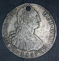 1807 LIMAE JP PERU LIMA 8 REALES SILVER COIN   KM 97   HOLED