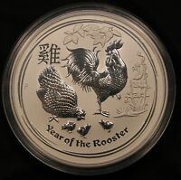 2017 AUSTRALIA 5 OZ SILVER LUNAR YEAR OF THE ROOSTER PERTH MINT .9999 $8 DOLLARS