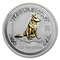 2006 YEAR OF THE DOG GOLD GILDED LUNAR SERIES I SILVER 1 OZ PERTH AUSTRALIA COIN