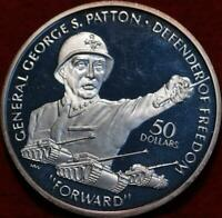 UNCIRCULATED 1990 NIUE ISLANDS $50 GENERAL PATTON SILVER FOR