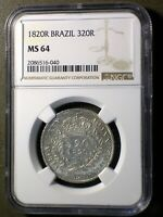 PORTUGUESE COLONIAL BRAZIL 1820 320 REIS  NGC MS 64   ONLY 3 GRADED HIGHER