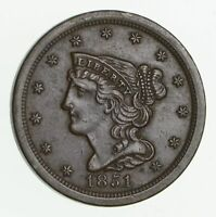 1851 BRAIDED HAIR HALF CENT 2290