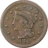 1852 1C BRAIDED HAIR LARGE CENT PENNY COIN F FINE