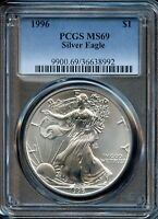1996 $1 PCGS MINT STATE 69 MINT STATE 69  AMERICAN SILVER EAGLE DOLLAR COIN SW112