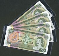 FOUR  4  CONSECUTIVE SERIAL NUMBER  1969 $20 CANADA BANKNOTES. BC 50B