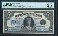 Click now to see the BUY IT NOW Price! 1924 $5 DOMINION OF CANADA PMG VF25. QUEEN MARY DC 27.  NOTE.