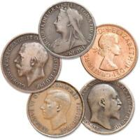 1895 1967 BRITISH LARGE PENNY 5 COIN COLLECTIBLE SET AG ABOUT GOOD OR BETTER