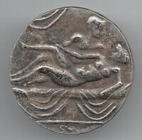 ROMAN SILVER COIN UNKNOWN OLD RIQUE NAKED WOMAN PROSTITUTE A