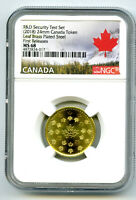 2018 CANADA MAPLE LEAF BRASS NGC MS68 TEST TOKEN  FIRST RELE