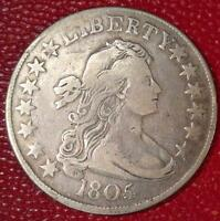 AMAZING COIN1805/4 DRAPED BUST SILVER HALF DOLLAR O-102 VF DETAILS K397