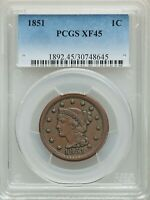 1851  1C LARGE CENT  PCGS XF45  LARGE CENT ORIGINAL SKIN GOL