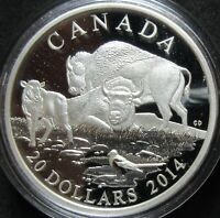 2014 CANADA BISON PROOF 1 OUNCE .9999 FINE SILVER TWENTY DOL