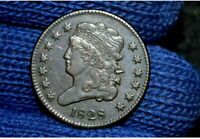 1828 HALF CENT13 STARS EXTRA FINE  / AU CHOICE BROWNTAKE 5 OFF RIGHT NOW
