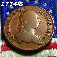 AUTHENTIC 1774 S KREUZER PENNY COLONIAL REVOLUTIONARY WAR HE