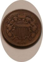 1865 TWO CENT PIECE 2 NICE ORIGINAL STRONG DETAIL