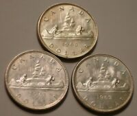 1960 1961 & 1962 SILVER DOLLARS OF CANADA VERY CHOICE TO GEM