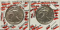 EARLY YEARS OF WW-II 1941-D-1942-P LUSTROUS LIBERTY. SILVER HALF $---RETAIL $219