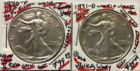 EARLY YEARS OF WW-II 1940-P-1941-D LUSTROUS LIBERTY. SILVER HALF $---RETAIL $199
