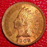 ANTIQUE U.S. COIN1902  INDIAN HEAD PENNY RB CHOICE RED/BROWN BU A742