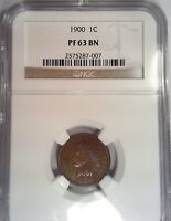 1900 INDIAN HEAD CENT PROOF 63 BN NGC ONE CENT US  COIN PENNY 87007